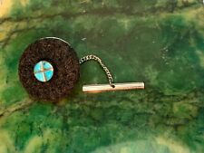 Vintage Tie Tack Southwest Style, Turquoise Inlay, Sterling Silver.