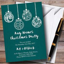 Turquesa Baubles Personalizado Invitaciones Fiesta De Navidad