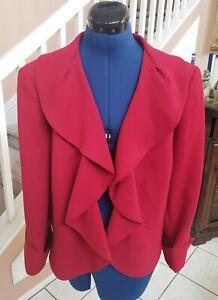 KASPER Red Ruffle Open Front Business Blazer Jacket Sz 18 - BEAUTIFUL!