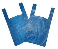 """100 JUMBO STRONG BLUE VEST STYLE CARRIER BAGS 12""""X18""""24"""" FREE DELIVERY"""