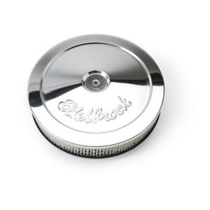 """Edelbrock Air Cleaner Assembly 1208; Pro-Flo 1000 Chrome Steel Round 10"""" x 2"""""""