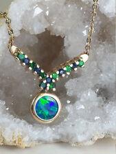Australian Black Opal Necklace with Sapphires and Tsavorite Garnets