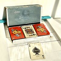 """Vintage 1950's  Duratone """"Samba"""" 3 Deck Canasta Playing Cards Red Flowers 059"""