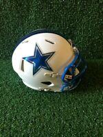 Dallas Cowboys CUSTOM Riddell Speed Matte White Blue Chrome Mini Football Helmet