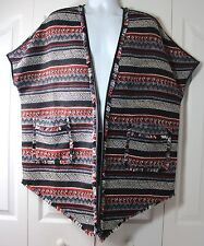 Sam Edelman Medium Aztec Blanket Poncho Open Front Sleeveless Jacket