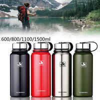 Stainless Steel Water Bottle Double Wall Vacuum Insulated Flask Wide Mouth New