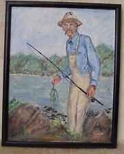 Artist Signed By Dr. Puccio Oil Painting on canvas of Old Man Fisherman