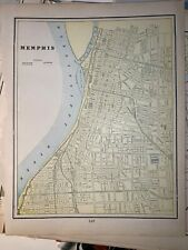 1899 George F Cram Atlas Old Map Page Memphis TN 14 x 11 Nashville Tennessee