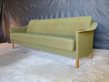 EB696 Danish Teak and Green Wool Sofa Bed Retro Mid Century Modern