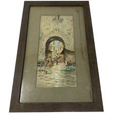 Vintage 1940s Framed Watercolor Painting Market Place Signed C. Robiva - Napoli