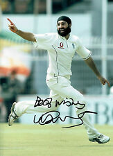 Monty PANESAR Signed Autograph 16x12 ENGLAND Cricket Photo Spin Bowler AFTAL COA
