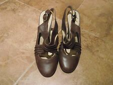 NEXT - SIZE 8 - BROWN SOLE REVIVER SLING BACK HEELED SHOES
