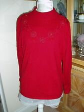 Ladies bright scarlet turtle-neck, long-sleeved BM sweater - Size M