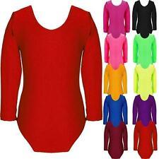 Girls New Kids Plain Long Sleeve Microfibre Dance Stretch Leotard Bodysuit Top