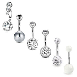 6pcs 14G CZ Belly Button Rings Stainless Steel Belly Navel Ring Barbell Piercing