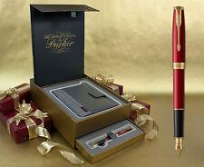 Parker Sonnet Fountain Pen - Red Satin Gold Trim Gift Set