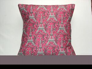 """16"""" New Shabby Chic 'Eiffel Tower pink fabric cushion cover"""