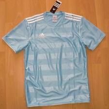 adidas FUSSBALL FITNESS Soccer Trikot SPORT FREIZEIT T-shirt JERSEY HELLBLAU NEU