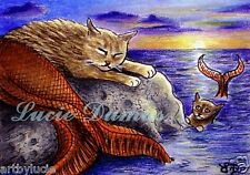 ACEO art print Cat Mermaid 8 ocean, sea, sunset from fantasy painting by L.Dumas