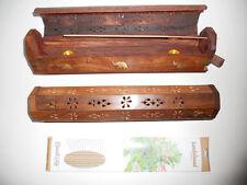 2 x Wooden Incense Burner Holder Box with 20 sticks