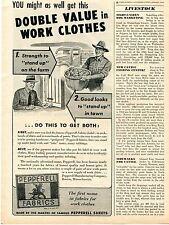 1945 Pepperell Fabrics Farm Work Clothes Print Ad