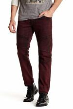 $293 NWT True Religion Men's Slim Moto Jean Ox Blood Dark Red Black Size 32 x 33