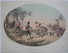 Fandango Tanz Spanien Orig Farblithografie Payne 1880