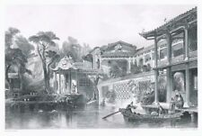 Antique Etching Merchant in Canton South China by Thomas Allom