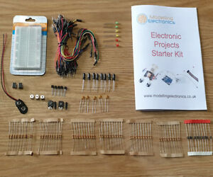 Basic Electronics starter kit, breadboard, Booklet, Resistors, cables, LEDs