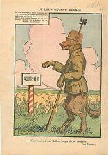 Caricature Politique Anti-Nazi Loup Wolf Mouton Autriche Sheep Austria 1936