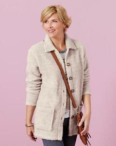 JD Williams Ladies Womens Stylish Sherpa Camel Marl Button Up Shirt Jacket 10