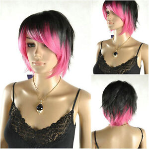 Latest New Short Black & Pink Woman's Like real hair Wig +free wig cap