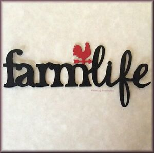 Farm Life with Weather Vane Metal Word Magnet by ROEDA® USA Made Free U.S. Ship