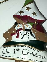 """New Ganz First ORNAMENT Our 1st Christmas Snowmen Tree Shaped """"Cookie"""" Shape"""