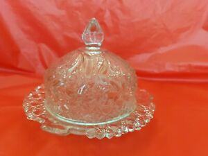 Vintage Large Crystal Butter, Cheese, Caviar Domed Lid w Handled Bottom Dish