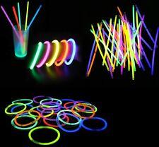 50 Pezzi Braccialetti Luminosi Fluo Fluorescenti Bracciali Disco Party hmj