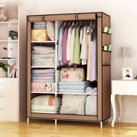 "67"" Portable Closet Wardrobe Clothes Rack Storage Organizer With Shelf Pouch US"
