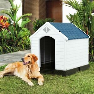 Medium size Dog House Outdoor White Blue Plastic with Elevated Floor Comfortable