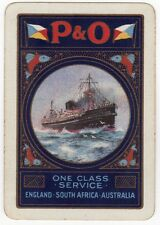 Playing Cards 1 Swap Card Old Vintage Wide P&O ONE CLASS SERVICE Shipping Liner