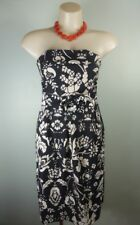 REVIEW black beige Strapless maxi print floral Dress w sash wrap belt 8