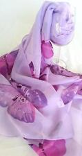 NEW Enchanting Scarf Purple and pink butterflies on lilac lavendar soft flowing