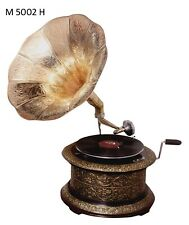 Replica Gramophone Embossed 78 rpm Round phonograph Brass Horn HMV Vintage Wind