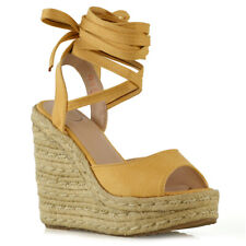 1b621f89e2b Womens Platform Wedge Heel Sandals Ladies Lace Up Strappy Espadrilles Shoes  Size