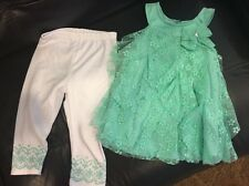 Wonder Kids 2 Of Capri Set Girls Size 5T Light Green Top With White Capri