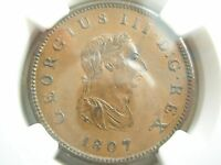 GREAT BRITAIN UK England 1/2 penny 1807 SOHO NGC AU 58 BN AU - UNC
