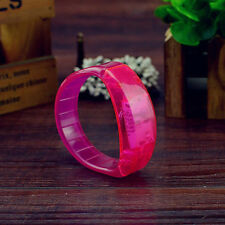 Fashion Sound Controlled Voice LED Light up Bracelet Activated Glow Flash Bangle Small(16cm) Hot Pink