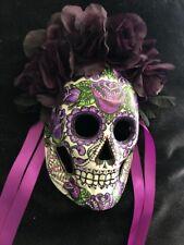 Day Of The Dead Girl Mask Dia De Los Muertos Red Silk Roses Tattoo Art Jen