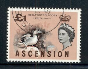 ASCENSION 88 SG83 Used 1963 £1 QEII Definitive Red-Footed Booby Cat$14