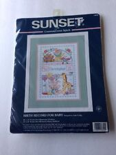 NEW Sunset Counted Cross Stitch Kit Sealed Kit Baby Birth Record Threads Cloth