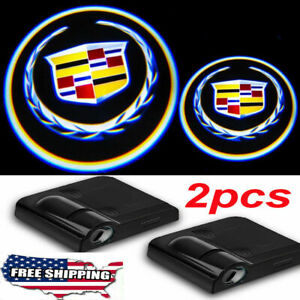 2 Wireless Ghost Shadow Projector Logo LED Light Courtesy Door Step for Cadillac